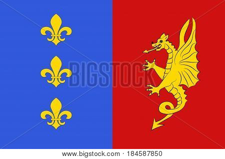 Flag of Bergerac is a commune and a sub-prefecture of the Dordogne department in southwestern France. Vector illustration