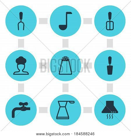 Vector Illustration Of 9 Cooking Icons. Editable Pack Of Cooking Spade, Cook, Soup Spoon And Other Elements.