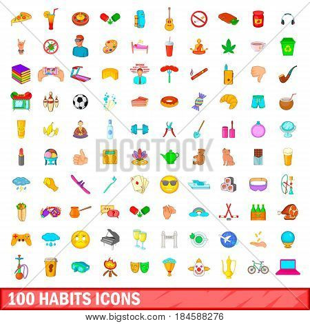 100 habits icons set in cartoon style for any design vector illustration