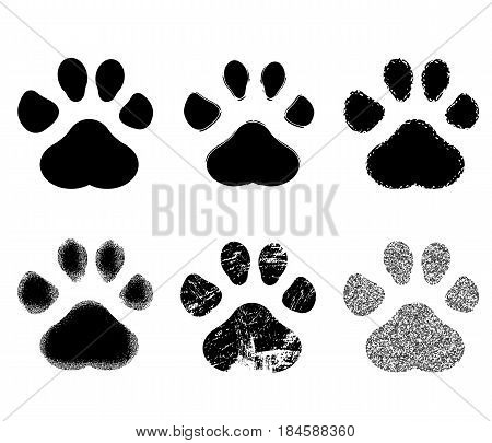 Set of Paw Print. Vector illustration. isolated on background. Vector illustration. Eps 10.