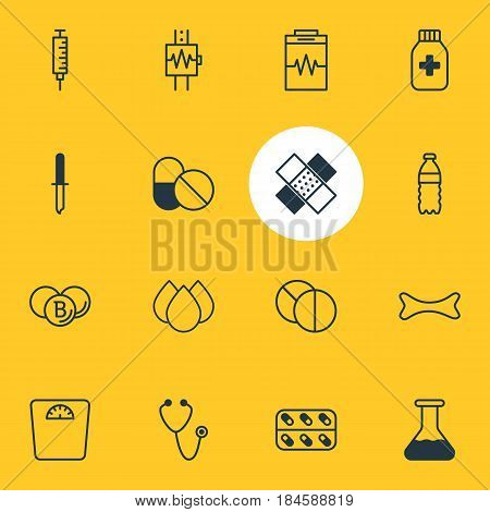 Vector Illustration Of 16 Medical Icons. Editable Pack Of Painkiller, Pipette, Heartbeat And Other Elements.