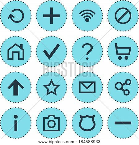 Vector Illustration Of 16 User Icons. Editable Pack Of Renovate, Plus, Asterisk And Other Elements.