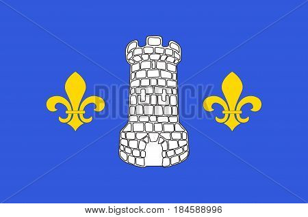 Flag of Nontron is a commune in the Dordogne department in Nouvelle-Aquitaine in southwestern France. Vector illustration