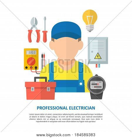 Electrician worker with household electrical equipment and tools. Repair and maintenance of electrical equipment and electricity of the net.