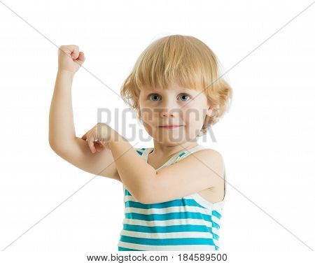 Kid boy child strength training and showing muscles. Isolated on white.