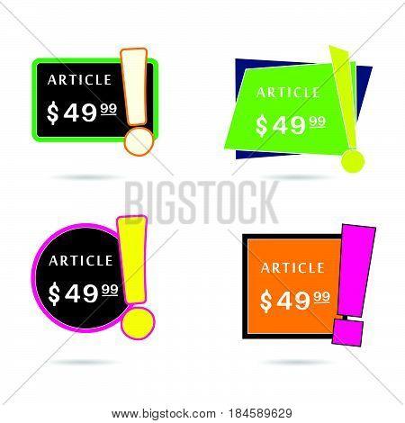 Article Price Offer Set In Diferent Frame Color Illustration