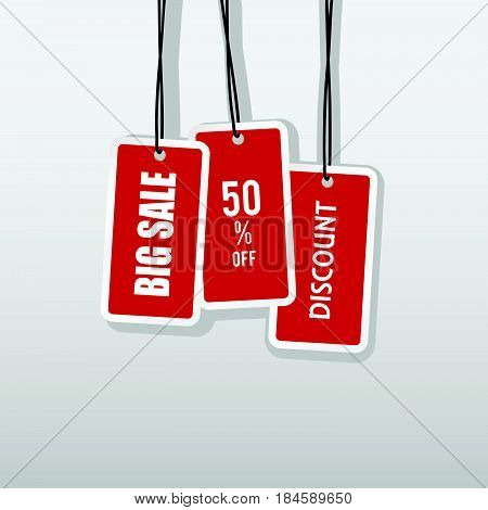 Tag Of Big Sale And Price Off Set In Red Color Illustration