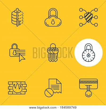 Vector Illustration Of 9 Protection Icons. Editable Pack Of Network Protection, Key Collection, Safeguard And Other Elements.