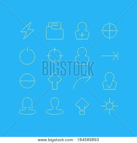 Vector Illustration Of 16 User Interface Icons. Editable Pack Of Share, Bolt, Female User And Other Elements.
