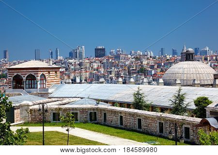The View Of The Istanbul From The Courtyard Of Suleymaniye Mosque