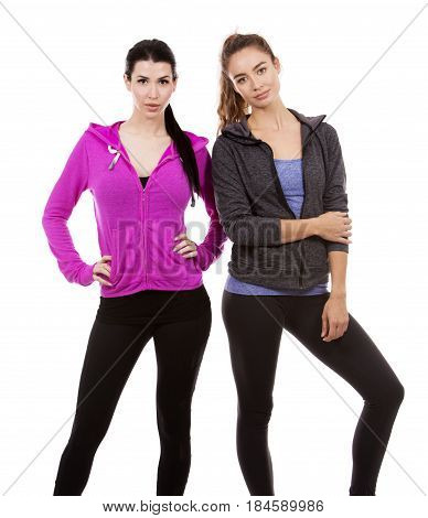Two Female Friends On White Background
