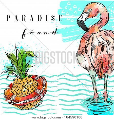 Hand drawn vector abstract freehand textured summer time art background with pineapple and pink flamingo in sea waves and calligraphy quote Paradise found isolated.Wedding, save the date, birthday.
