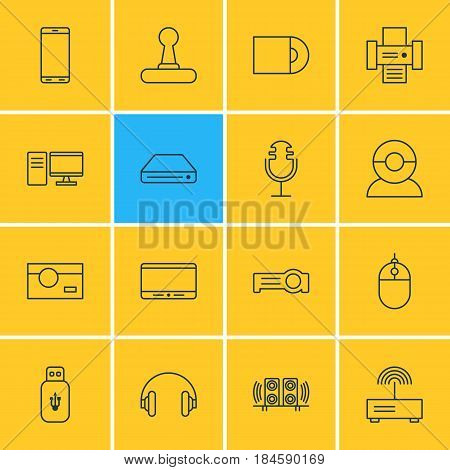 Vector Illustration Of 16 Technology Icons. Editable Pack Of Loudspeaker, Modem, Usb Card And Other Elements.