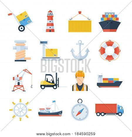 Sea port set of vector icons in a flat style. Loading and unloading of cargo ships in the port. Icons of a crane, a forklift, a cargo ship, containers and a worker. International sea freight.