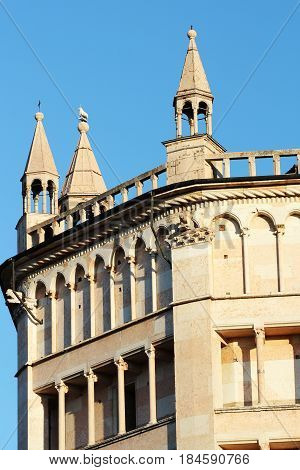 Famous Baptistery building in Parma, Emlia-Romagna, Italy.