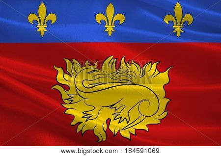 Flag of Sarlat-la-Caneda is a commune in the Dordogne department in Nouvelle-Aquitaine in southwestern France. 3D illustration