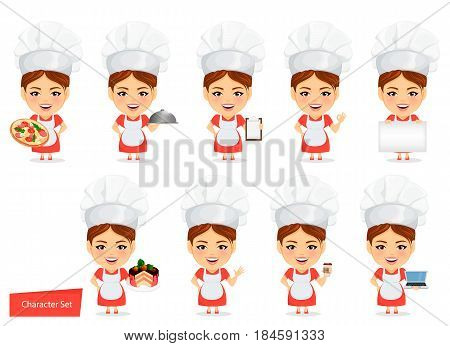 Cook woman female master chef. Funny cartoon character with big head. Set of humorous vector illustrations.