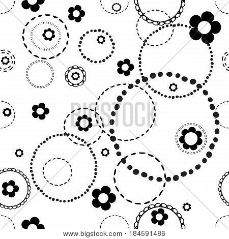 Seamless light pattern with doodles . Abstract floral pattern with white flowers and circles from dots.