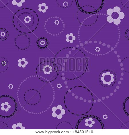 Seamless violet pattern with doodles . Abstract floral pattern with white flowers and circles from dots.