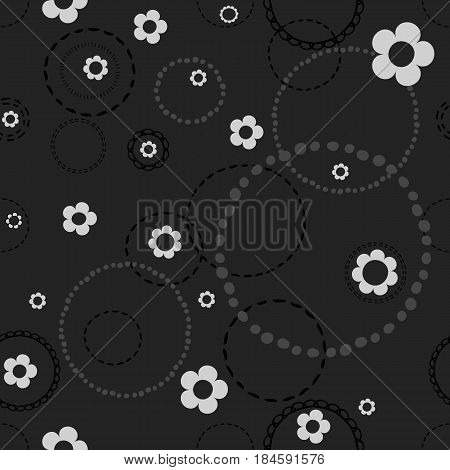 Seamless dark pattern with doodles . Abstract floral pattern with white flowers and circles from dots.