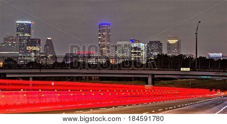 the Houston Texas modern skyline at night