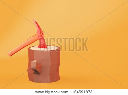 Cartoon styled axe stucked in the stump on orange background. 3d rendering