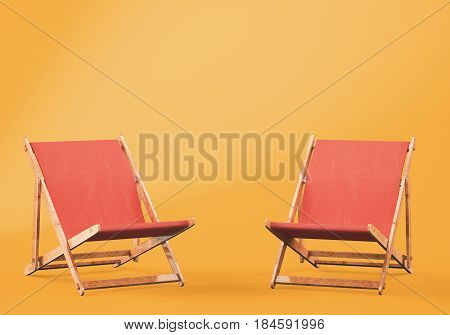 Wooden chaise lounges on orange background. 3d rendering