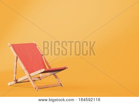 Wooden chaise lounge on orange background. 3d rendering