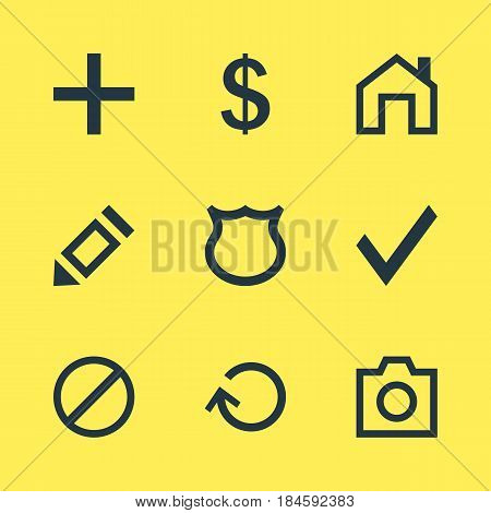 Vector Illustration Of 9 Interface Icons. Editable Pack Of Confirm, Snapshot, Mainpage And Other Elements.