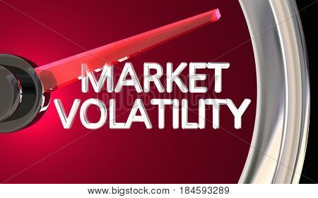 Market Volatility Gauge Speedometer Measure Risk Danger 3d Illustration