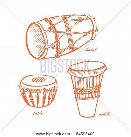Musical percussion instruments dholak, ashiko, tabla. Hand-drawn vector illustration.