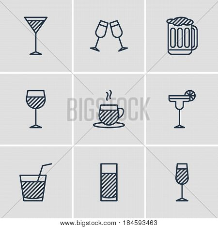 Vector Illustration Of 9 Drinks Icons. Editable Pack Of Beverage, Aqua, Drink And Other Elements.