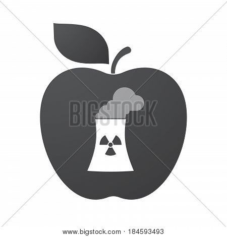 Isolated Apple Fruit With A Nuclear Power Station