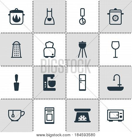 Vector Illustration Of 16 Kitchenware Icons. Editable Pack Of Slicer, Washstand, Bread Elements.