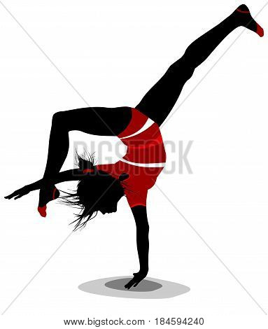 Vector silhouette of a dancing girl isolated on a white.