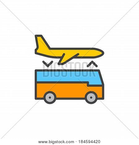 Airport shuttle transfer service line icon filled outline vector sign linear colorful pictogram isolated on white. Symbol logo illustration