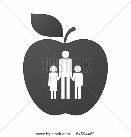 Isolated Apple Fruit With A Male Single Parent Family Pictogram