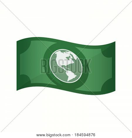 Isolated Bank Note With An America Region World Globe