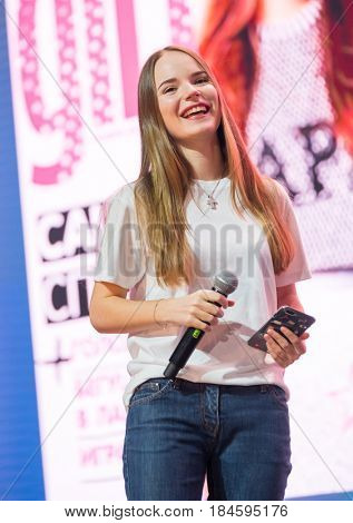 Moscow, Russia - April 7, 2017: Famous Russian blogger and vlogger Sasha Spilberg on the stage. Conference