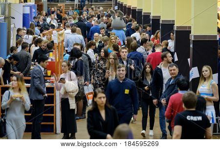 Moscow, Russia - April 7, 2017: People attend business conference in congress hall. Conference