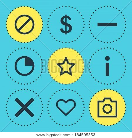 Vector Illustration Of 9 Member Icons. Editable Pack Of Emotion, Money Making, Info And Other Elements.