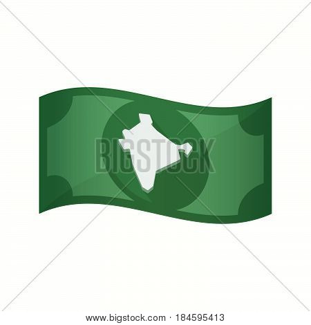Isolated Bank Note With  A Map Of India