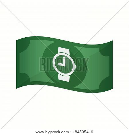 Isolated Bank Note With A Wrist Watch
