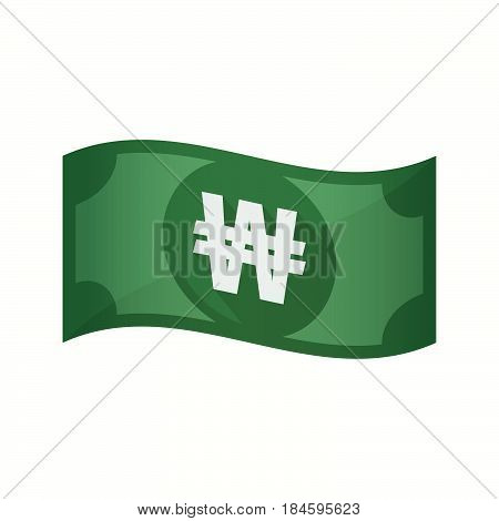 Isolated Bank Note With A Won Currency Sign