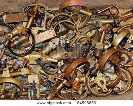 Parts from broken pressure gauges. Bourdon tube.
