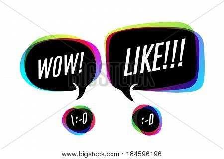 Colorful bubbles with smile icon and cloud talk with text Wow and Like. Bubbles or cloud talk different shapes for web, social network, message and discussion themes. Vector Illustration