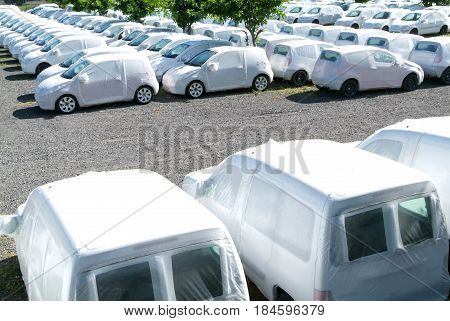 Group Of Packed Cars