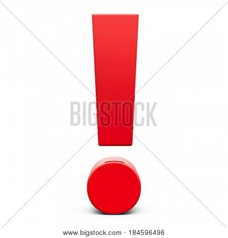 Red Exclamation point sign isolated on white background three-dimensional rendering 3D illustration