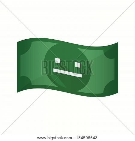 Isolated Bank Note With A Emotionless Text Face
