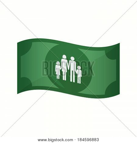 Isolated Bank Note With A Conventional Family Pictogram